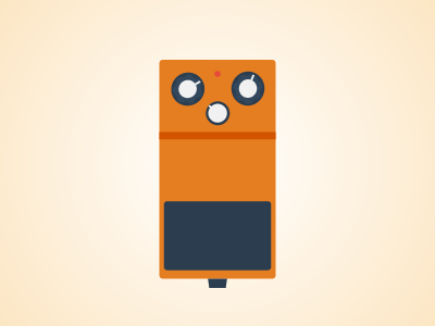 Flat Guitar Pedal - Boss DS1 flat guitar pedal pedalboard vector illustrator music rock