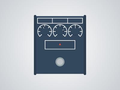 Flat Guitar Pedal - Proco Rat flat guitar pedal pedalboard vector illustrator music rock
