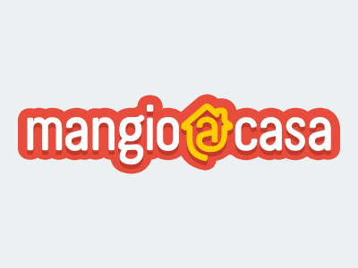 Mangio a casa eat eating home house brand branding logo logotype type flat vector adobe illustrator