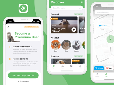 Pet App Concept mobile ui designflows flat  design map cat dog ux design ui design mobile app pets