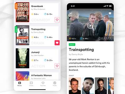 Movie App Concept portraits light theme vibrant colors shadows cinema movie app ui design mobile app