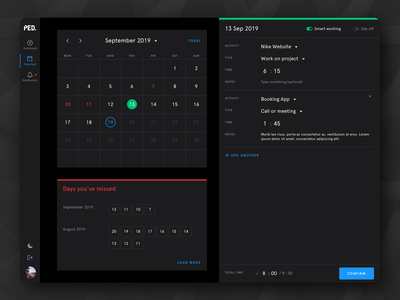 Timesheet dashboard timesheet minimal dark theme light theme desktop app ux design ui design