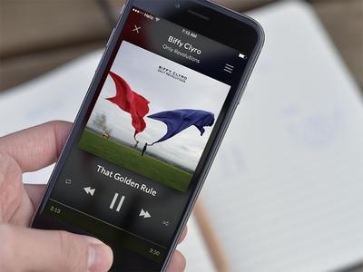 UI Music Player minimal black listen play player music ios iphone app interface uiux ui