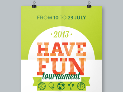 Have Fun Tournament basketball volleyball football sport manifesto flyer poster tournament fun vector icons illustrator