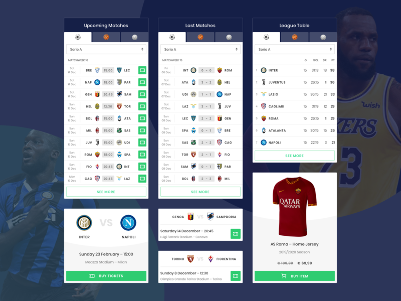 Sport Widgets teams tables volley basket soccer modern flat ui design widget sport