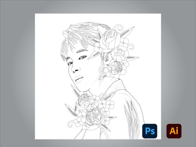 BTS Jimin artwork drawing adobe illustrator adobe photoshop degital drawing digital art design art adobe kingtharu