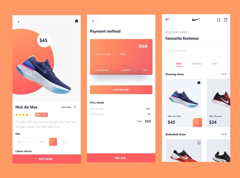 Ecommerse App Design for Shoes (Nike)