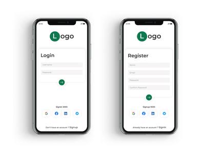 Mobile app Login & Register uI design