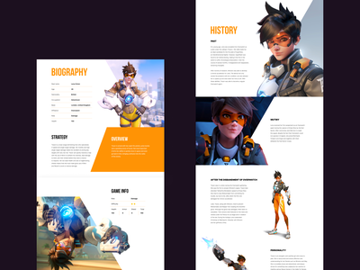 Overwatch. Tracer. Landing Page caracter history tracer gaming game web site desktop uxui design web-design ux mobile concept minimalism overwatch blizzard graphic design ui