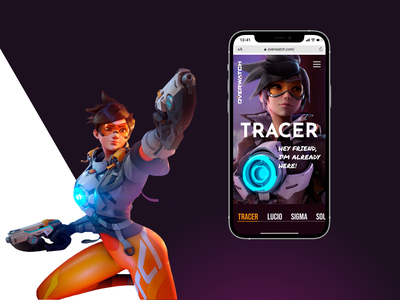 Overwatch. Tracer. Landing Page uiux gaming game caracter history graphic design tracer site web design web-design ux mobile concept minimalism ui overwatch blizzard