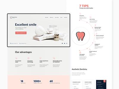 Dental Clinic. Web design web design medical clinic site web stomatology teeth dentistry dental graphic design ui design web-design ux mobile concept minimalism