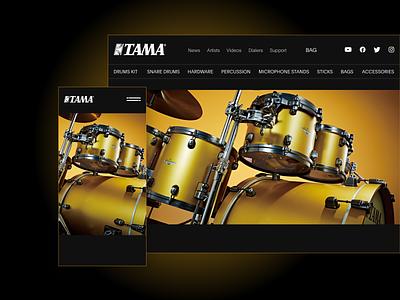 TAMA Drums Shop. UX/UI e-commerce tama drums store shop web site music drum design web-design ux mobile concept minimalism branding graphic design ui