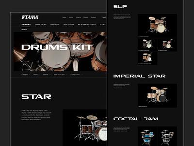 TAMA Drums. E-Commerce e-commerce store shop desktop site web design web-design ux mobile concept minimalism music drums drum tama branding graphic design ui