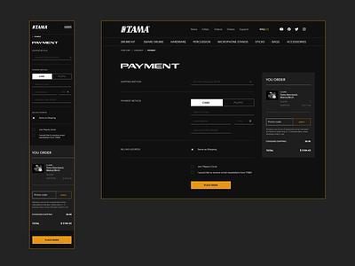 Payment. UX/UI. Tama Drums interection store music drums drum payment tama shop web site design web-design ux mobile concept minimalism branding graphic design ui