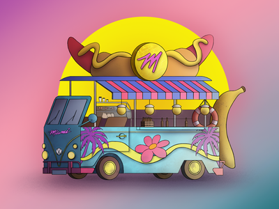 Food truck from Miami pizza cars art food truck hot dog volkswagen miami car miami 2d digital 2d digital art sunny banana car vice city illustration design