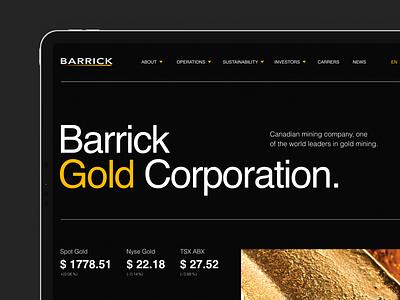 Gold Corporation. Website gold mining black uxui interaction corporate gold tablet branding company web-design ux design concept minimalism graphic design ui