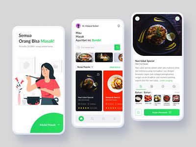 Foody Design Mobile App asian indonesia ui ux indonesia mobile ui andoid app inspiration makanan masak memasak design inspiration ux inspiration ui inspiration cooking food foody mobile app cook figma