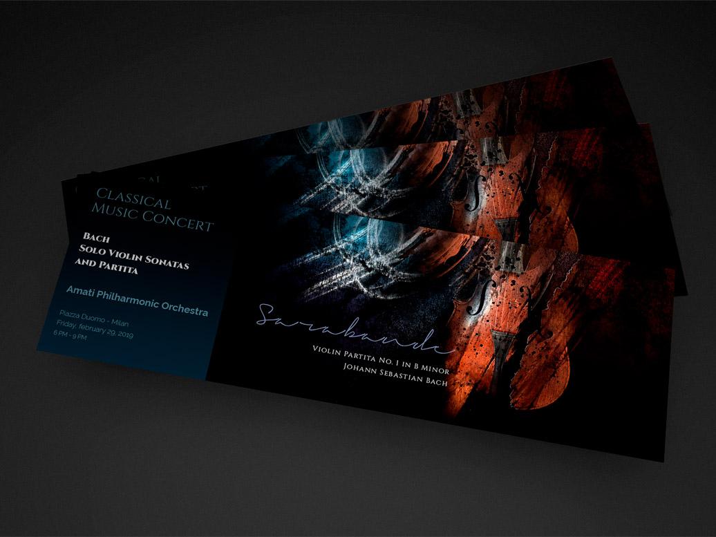 Classical music concert tickets graphic design classical graphic tickets project stringed instruments print music luxury illustration design