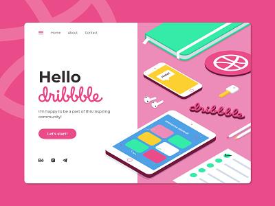 Hello dribbble! figma adobe illustrator illustrator website web flat ui design illustration