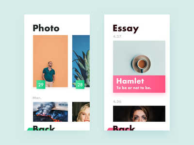 Tittle-A Concept App big title essay photo design color ux ui app