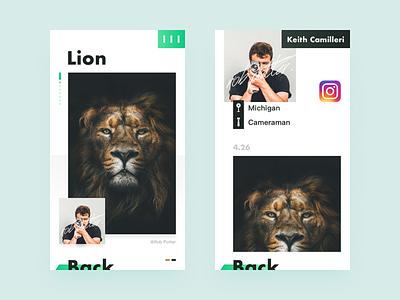 Tittle: Photo detail page big title essay photo design color ux ui app