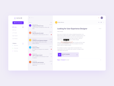 Mail Client app contact message mailbox designer web design website typography icon design product messaging ux ui dashboard chat inbox email mail clean