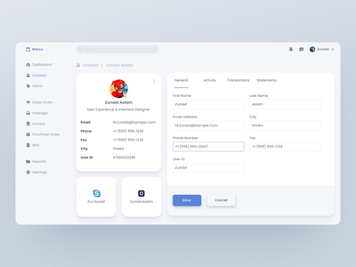 Contact Profile system inventory management figma enterprise application web design profile user user profile contact dashboard flat ux interface design modern app clean ui