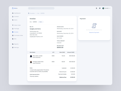 Invoice - Inventory Management System payment product dashboard shadow flat ux interface design modern clean ui web app app design invoice inventory web service software saas app