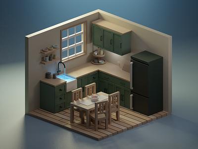 Kitchen render lowpolyart blender3d blender isometric illustration diorama 3d art isometric illustration lowpoly water magic kitchen