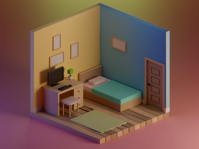 Simple Room diorama 3d art color modern bedroom room cute 2d blender lowpoly 3d illustrator 3d artist 3d illustration 3d modeling illustraion isometric design isometric 3d