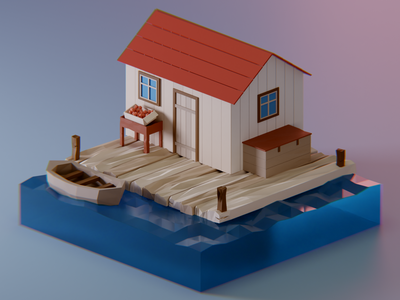 Cabin in the woods blender woods house cabin 3d illustration 3d illustration render isometric lowpoly diorama lowpolyart low poly