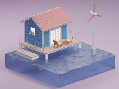 House on a lake graphic design 3d design isometric lowpolyart diorama lake house blender render 3d illustration poly low low poly 3d illustration