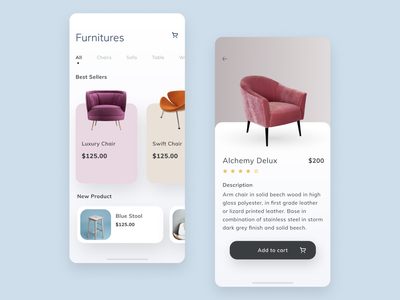 Furniture app for IOS typography catalog product vector ux mobile ui minimal modern luxury store furniture elegant shop ecommrece cart app