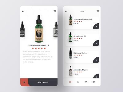 Beard Oil App UI 🧔 store shop e-commerce app ecommerce product oil beard figma designer web mobile ios ux flat interface modern design app clean ui