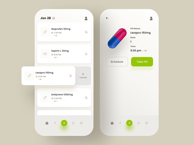 Medicine and Pill Reminder App ios flat interface medicine app doctor health patient clean design ui mobile app mobile healthcare clinical reminder pill medical medicine