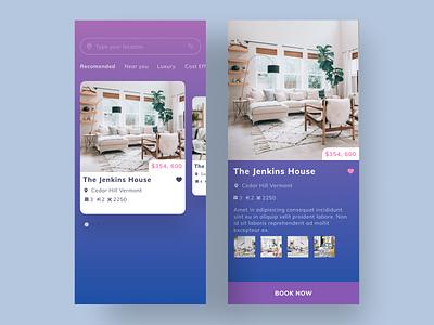 Real Estate App UI finder rent home house apartments apartment real estate realestate colorful android ios mobile flat ux interface modern design clean app ui