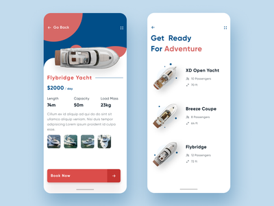 Yacht App UI android app design colorful minimal android app travel ship sea yacht boat android flat ux ios interface mobile design modern clean app ui