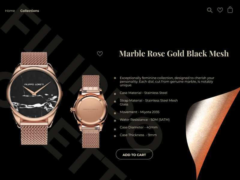 My favorite watch's website redesign website web design web watches redesign gold golden expensive ui ux design dark ui