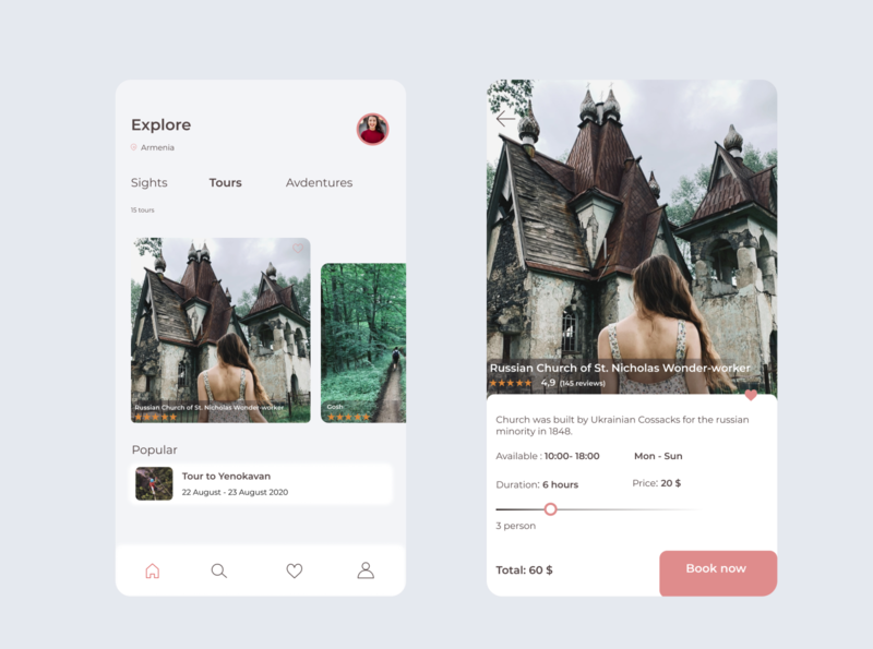 Travel application (to book tours and see sights in each region) tourism app sights booking app tour travel travel app lightui ui ux card design app