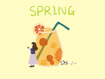 Spring Vibe spring girl character girl illustration girl watercolor graphic flat illustration digital painting procreate illustration