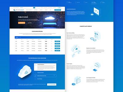 Public Cloud Product Pages blue website ux vector ui design product isometric illustration cloud server