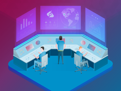Managed Services isometric illustration server people screen hologram isometric illustration control room
