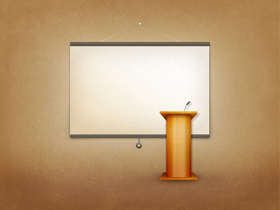 Freebie - Podium with projector screen PSD freebie podium projector screen projector screen brown texture microphone psd illustration