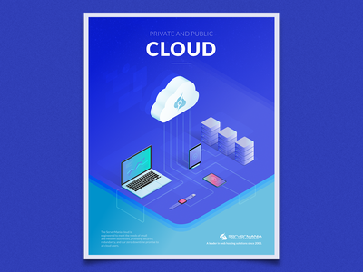 Private & Public Cloud connections devices server mobile isometric illustration