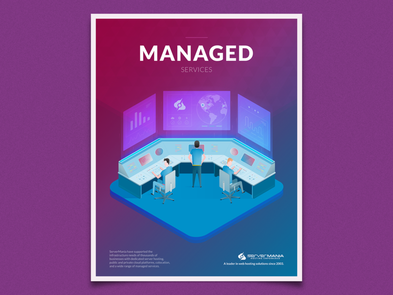 Managed Services screen control room server isometric illustration