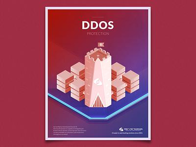 DDoS Protection tower ddos fort server isometric illustration
