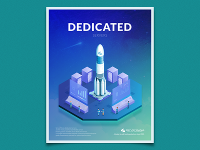 Dedicated Servers circuit processor cpu people control launchpad launch rocket server isometric illustration