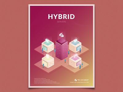 Hybrid Servers virtual server processor cpu server isometric illustration