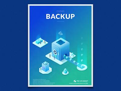 Cloud Backup cloud computing data safe backup cloud server isometric illustration
