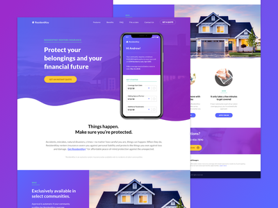 Renters insurance website concept phone app phone house financial protection insurance rental
